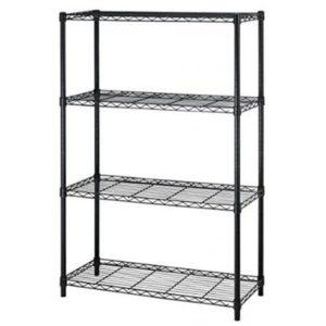 """BestOffice 54"""" Steel Wire 4-Tier Metal Shelving Rack - 36"""" x 14"""" x 54"""" (Black)"""