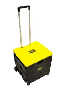 Quik Cart Two-Wheeled Collapsible Handcart with Lid Rolling Utility Cart with seat heavy duty plastic lightweight