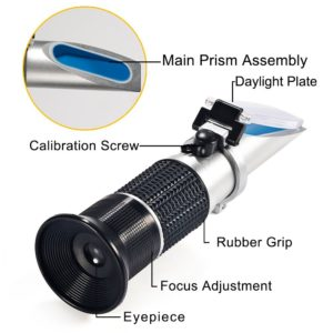 Professionnal Refractometer, GoerTek Hand-held High Measuring Range Honey Tester with ATC for Strong Sugar Water Content Measurement (Only), Replaces Homebrew Hydrometer Brix scale range 0 ~ 90%.