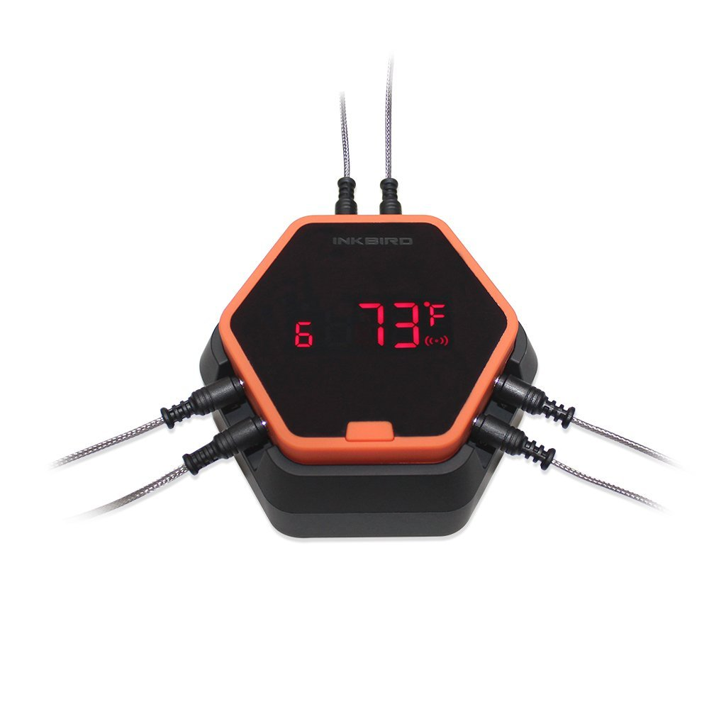 Inkbird Digital Wireless Bluetooth Cooking Meat Thermometer for BBQ Smoker Grill Oven (Thermometer w/ 6 probes, Orange)