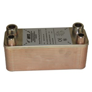 "HFs (Tm) 7.5"" x 2.9"" 30 Plate Beer Wort Chiller - Homebrew - 3/4"" x 1/2"" NPT Fittings (2.9""x7.5""x30Plates)"