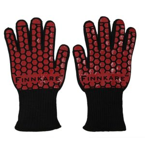 FINNKARE Long Cuff BBQ Gloves, Heat Resistant Gloves, Grilling Cooking Gloves, Protective Gloves for Oven Mitts, Pot Holders, 1 Pair