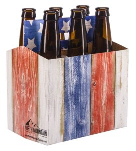 North Mountain Supply 6 Pack 12oz Beer & Soda Bottle Carrier - Weathered Boards American Flag - Pack of 10