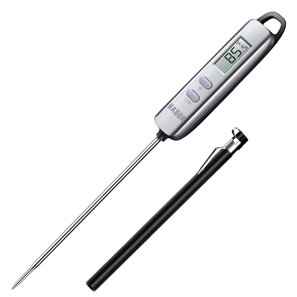 Habor SUPER FAST Digital Meat Thermometers, Instant Read Cooking Candy Electronic Thermometer w/ Super Long Probe for Kitchen, Food, Fry Steak, Milk, Water, Cake, BBQ Grill Smokers