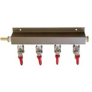 "4 Way Co2 Air Manifold, MFL Valves, (4) Swivel Nuts, (4) 1/4"" Stems"