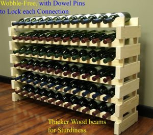 Stackable Modular Wine Rack Stackable Storage Stand Display Shelves, Wobble-Free, Pine wood, (72 Bottle Capacity, 6 rows x 12)