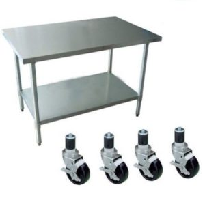 """DuraSteel 24"""" x 24"""" x 35"""" Height Worktable Stainless Steel Food Prep With 4 Caster Wheels Work Table- Commercial Grade Work Table - Good For Restaurant, Business, Warehouse, Home, Kitchen, Garage"""