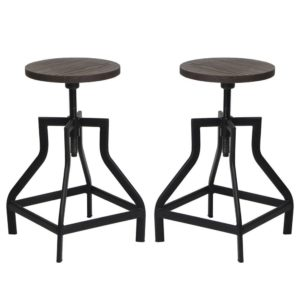 VIVA HOME Industrial Swivel Metal Frame Barstool With Adjustable Wood Seat, Set of 2