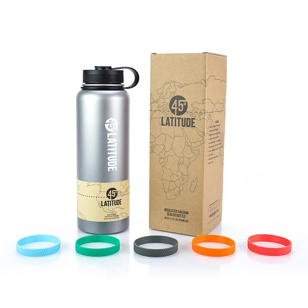 5 Degree Latitude 40 oz Water Bottle - Stay Hydrated Camping The Gym, Office Or Sports No BPA Stainless Steel Bottle - Perfectly Ice Cold Or Hot Beverages Leak Proof Lid