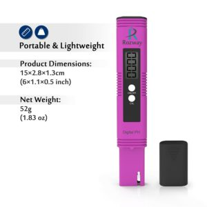Rozway Premium Pocket Size pH Meter Digital Water Quality Tester for Household Drinking Water, Swimming Pools, Aquariums, Hydroponics, pH Measurement for 0-14.0 pH, High Accuracy, 0.01 Resolution