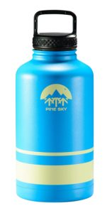 64oz Stainless Steel Growler and Vacuum Insulated Wide Mouth Water Bottle by Pine Sky - 2 Lid Package