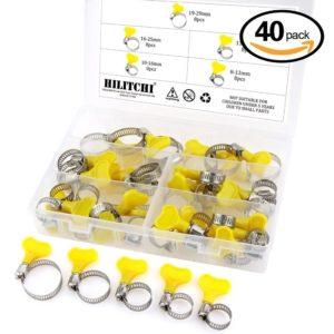 Hilitchi 40 Piece 8-29mm Key-Type Adjustable Hose Clamp Assortment Kit