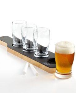 WEMBLEY $50 NEW 1621 Gift Chalkboard Beer Tasting Set With 4-Glasses