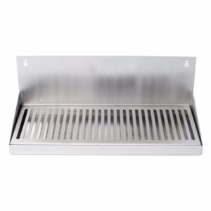"""16"""" Hanging Door Mount Draft Beer Drip Tray - No Drain Removable Grate Stainless"""