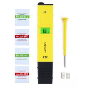 Etekcity 0.05pH High Accuracy Pocket Size Digital PH Meter Tester with ATC and Backlit LCD (Yellow)