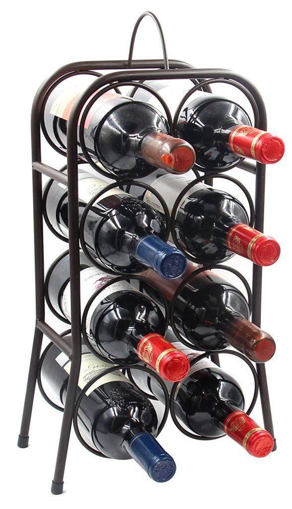 PAG 23-Bottle Metal Wine Rack Arch Bottles Holder Stackable Storage Stand Display Shelf with Handle, Black