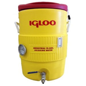 """Quick Fit 10 Gallon Igloo Mash Tun with Stainless Steel False Bottom, Stainless Steel Valve and 3"""" Dial Probe Thermometer"""