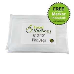 100 6x10 PINT Vacuum Sealer Bags compatible w FoodSaver™ for Food Storage 4 mil