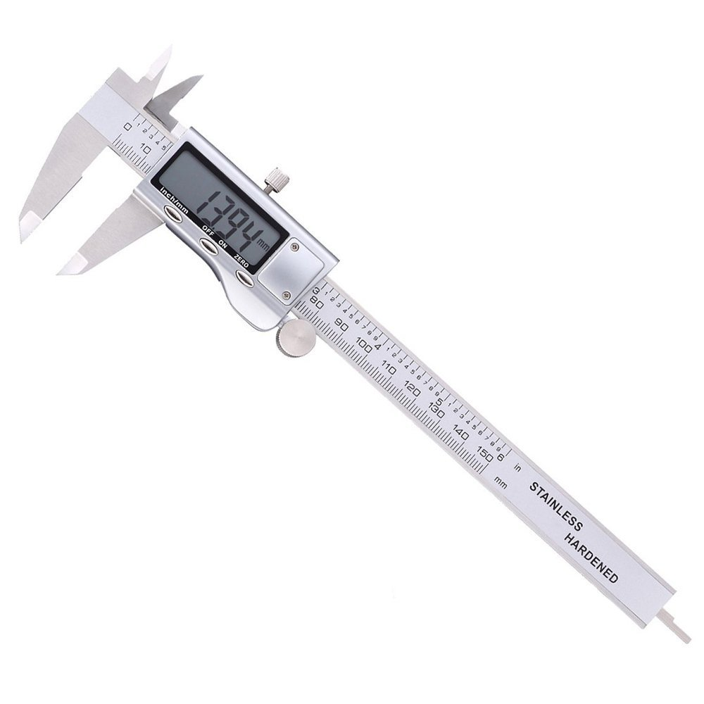 Digital Caliper 6 Inch Measuring Tool Stainless Steel Inch MM, Electronic Vernier Calipers Gauge for Woodworking Jewelry by REXBETI, Polished Silver