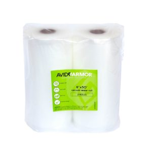 """Two 8""""x50' Vacuum Sealer Bags Rolls for Food Saver, Seal a Meal & other Vac Machines, Embossed Heavy-Duty Storage Commercial, BPA Free & Sous Vide Vaccume Safe Cut Roll to Make Bag 100 Feet Avid Armor"""