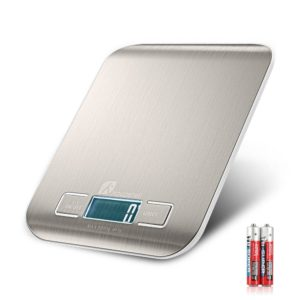 Digital Kitchen Scale, Houzetek Multifunction Food Scale,11 lb 5 kg Stainless Steel Weight Scale with LCD Display(Batteries included, Silver)