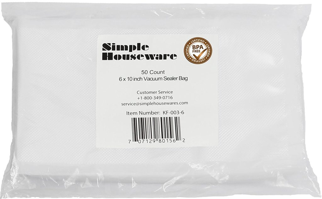 """50 Count - Pint Size 6"""" x 10"""" Vacuum Sealer Bags Food Storage Saver Commercial Grade Precut bags for Foodsaver and Sous Vide"""