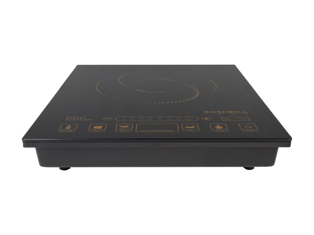 Rosewill RHAI-16002 1800-Watt 5 Pre-Programmed Settings Induction Cooker Cooktop with Stainless Steel Pot