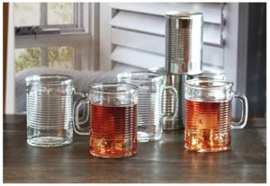 Circleware Canned Can Shaped Glass Drinking Mugs, Set of 4, 17 oz., Clear