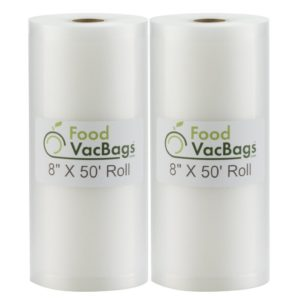 "Two 8""X50' Rolls of FoodVacBags 4 mil Commercial Grade Vacuum Sealer Bags - Make Your Own Size Bag! - for Foodsaver, Seal-A-Meal, plus other machines"
