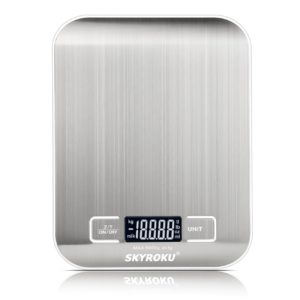 Digital Kitchen Scale, SKYROKU Multifuction Food Scale with LCD Display, 11b/5kg, Stainless Steel, Silver(No Battery Included)