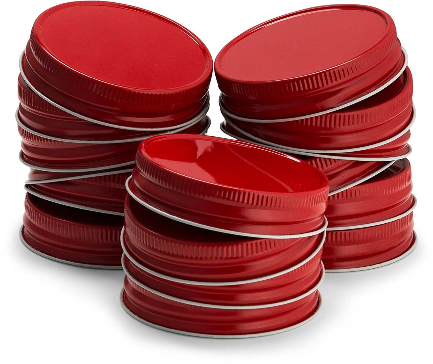 KooK Mason Jar Lids Regular Mouth, Leak Proof and Secure, Red, Gold, Silver, White, 16 pack (Red)