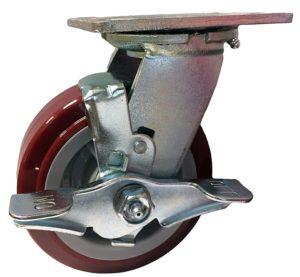 "CasterHQ - 5"" X 2"" Swivel Caster With Brake - Maroon on Gray Polyurethane on Polyolefin Wheel - 4""x4-1/2"" Top Plate - 750 lbs Capacity"