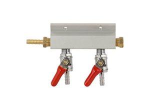 "Gas Manifold - 2 Way Aluminum (Keg King) 1/4"" Barb"