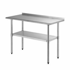 SUNCOO Commercial Stainless Steel Work Table Food Grade Kitchen Prep Workbench Metal Restaurant Countertop Workstation with Adjustable Undershelf 48 in Long x 24 in Deep W/Backsplash