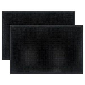"""Tebery Black Mat 18"""" x 12"""" Rubber Bar Service Spill Mat ( 2 pack )"""