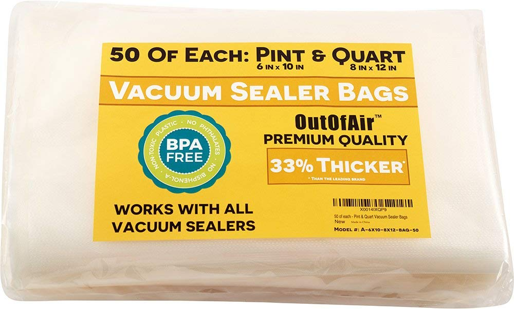 """100 Vacuum Sealer Bags: 50 Pint (6"""" x 10"""") and 50 Quart (8"""" x 12"""") OutOfAir Vacuum Sealer Bags for Foodsaver and Other Savers. 33% Thicker than Others, BPA Free, FDA Approved, Great for Sous Vide"""