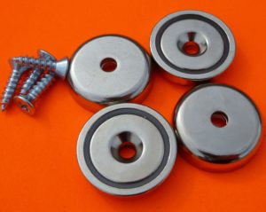 """4Pc Neodymium Cup Magnets 90 lbs Pull 1.26"""" Dia Screw Included"""