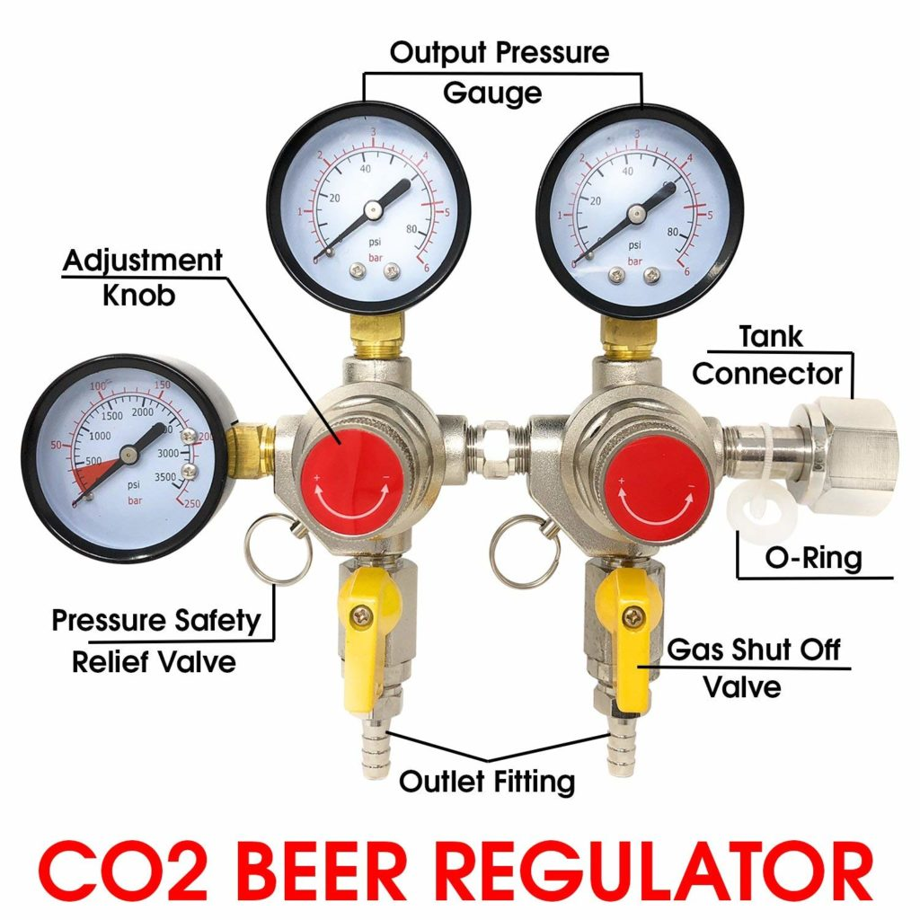 """Co2 Beer Regulator Two Product Dual Pressure Kegerator Homebrew Heavy Duty Features Adjusting Knob - 0 to 80 PSI - 0 to 3500 Tank Pressure CGA-320 Inlet w/ 3/8"""" O.D. Safety Discharge 50-55 PSI"""