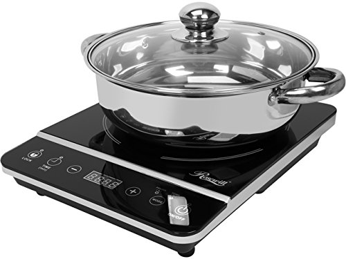 """Rosewill Induction Cooker 1800 Watt, Induction Cooktop, Electric Burner with Stainless Steel Pot 10"""" 3.5 QT 18-8, RHAI-13001"""