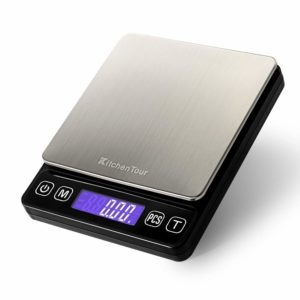 KitchenTour Digital Kitchen Scale - 500g/0.01g High Accuracy Precision Multifunction Food Meat Scale Jewelry Lab Carat Powder Scale with Back-Lit LCD Display(Batteries Included)