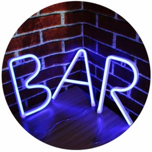 LED Neon Letter Night Light, Light Up Bar Word Sign Gift, USB & Battery Operated Wall Decor for Bar, Pub, Home, Birthday Party-BAR (Blue Light)