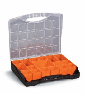 """Small Parts Organizer Compartment Storage Box for Hardware, Screws Nuts and Bolts With 16 Removable Bins 10"""" x 12"""" x 2¼"""""""
