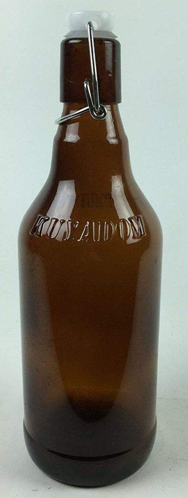 Circleware 07093 Set of 12 Brown Glass Bottles with Locking Swing Top Easy Wire Cap Stopper Kitchen Entertainment Dispenser Glassware Drink Pitcher for Water, Milk, Juice, Beer, 16.4 oz, Hermetic
