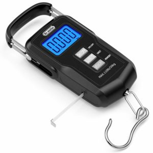 Dr.meter [Upgraded] FS01 Fishing Scale, 110lb/50kg Digital Hanging Scale with Backlit LCD Display, Measuring Tape and 2 AAA Batteries
