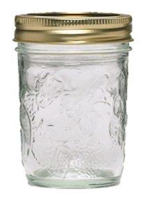 Ball 40801 Golden Harvest Mason Regular Mouth 8oz Jelly Jar 12PK 'Vintage Fruit Design', RM 8 Oz, Clear