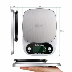 TENDOMI Digital Kitchen Scale/Lab Scale Multi-Function Accurate Food Scale for Baking Cooking with LCD Display, 22 lbs/10 kg Capacity, Stainless Steel, Easy to Clean (Batteries Included)