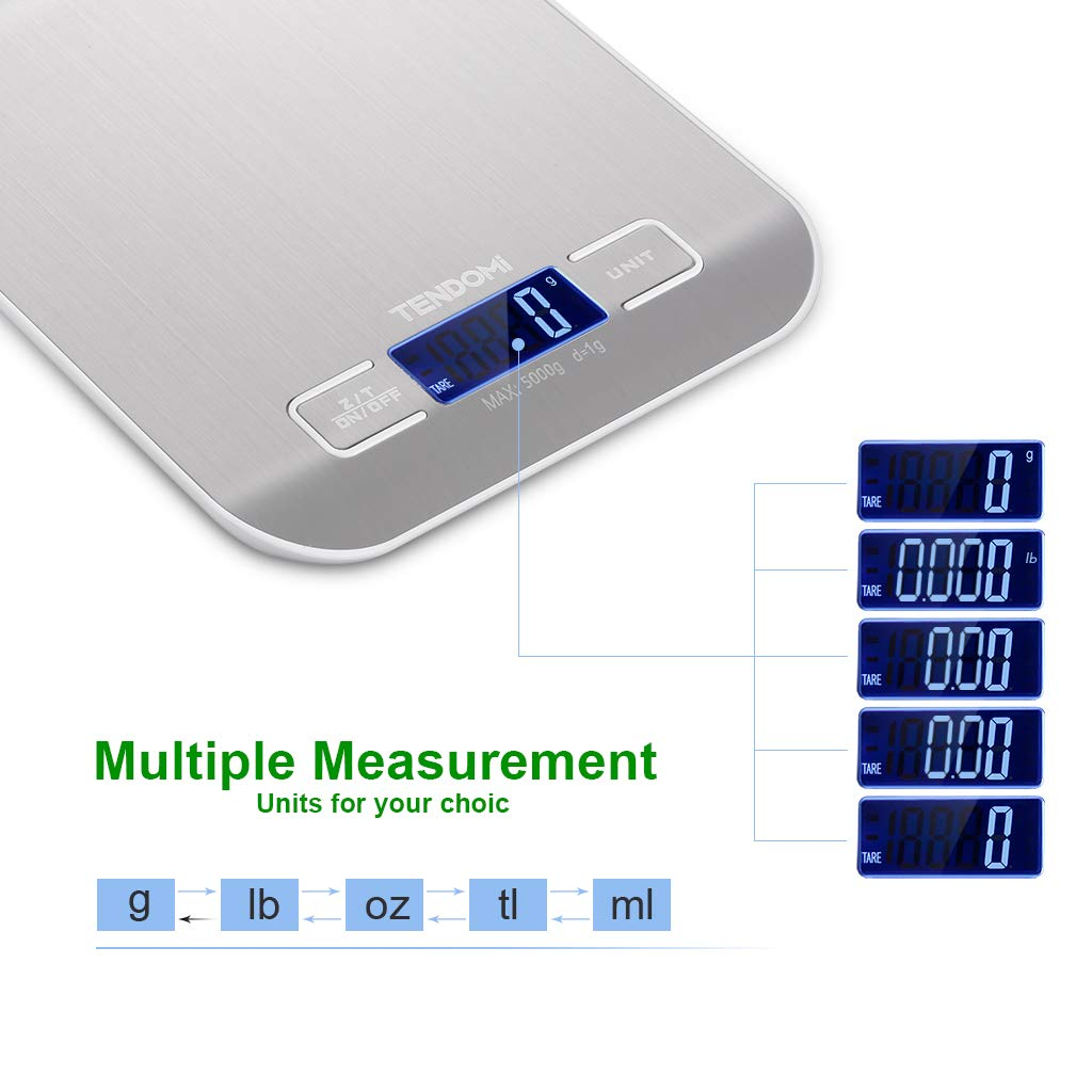 TENDOMI Digital Kitchen Scale/Food Scale Slim Multifunction Compact Metric Scale for Baking Cooking with LCD Display, 11 lbs/5 kg Capacity, Precision Measuring, Stainless Steel (Batteries Included)