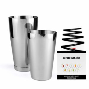 Boston Shaker Cocktail Making Set with Bonus Cocktail Recipe Booklet:18oz Unweighted & 28oz Weighted Professional Bartender Cocktail Shaker Set by Cresimo
