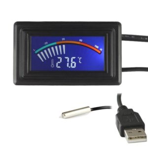 Keynice Digital Thermometer, Temperature Sensor USB Power Supply, Fahrenheit degree and Degrees Celsius color LCD Display, High Accurate-Black