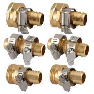 "OurRich Garden Hose Connector Alu Hose Mender with Stainless Steel Clamp 5/8"" 2Sets"